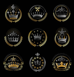 imperial crowns emblems set heraldic coat of arms vector image