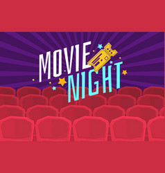Colorful poster movie night with cinema tickets vector