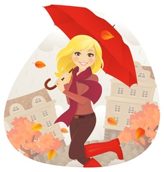 Girl in fall vector image