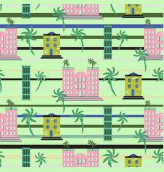 Hawaii resort buildings seamless pattern vector