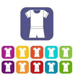 Sport shirt and shorts icons set vector