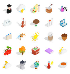 Academic year icons set isometric style vector