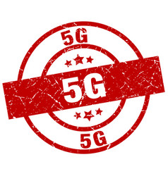 5g round red grunge stamp vector