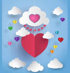 Hot air balloon in a heart shape vector