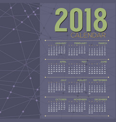 2018 printable calendar starts sunday vector
