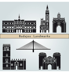 Badajoz landmarks and monuments vector
