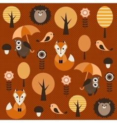 Autumn forest with animals vector