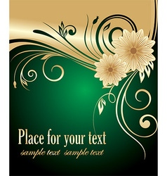 Green and gold floral design vector