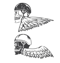 Biker theme label with wings and skulls vector