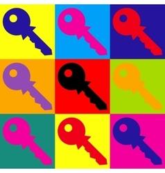 Key sign Pop-art style icons set vector image