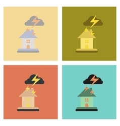 Assembly flat icons nature lightning house vector