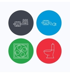 Ventilation toilet and gas counter icons vector