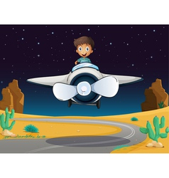 a boy and aeroplane vector image vector image