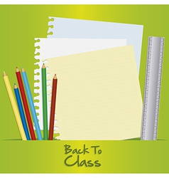 Back to class with school elements over green back vector image