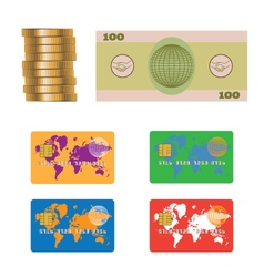 Banknote coins credit plastic bank card vector
