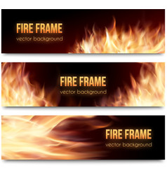 banners set with realistic fire flames vector image vector image
