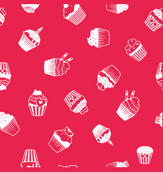 bright decorative pattern with muffins vector image