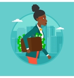 Business woman carrying briefcase full of money vector