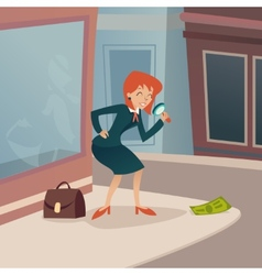 Businesswoman Character with Magnifying Glass and vector image vector image