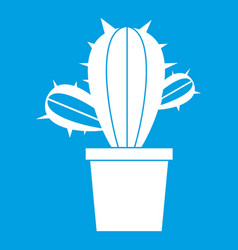 Cactus houseplants in pot icon white vector
