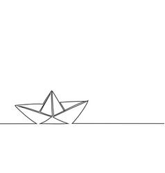 Continuous line drawing of paper boat vector