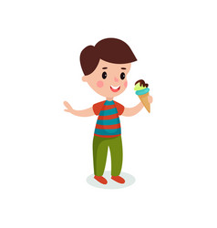 cute boy eating ice cream cartoon vector image vector image