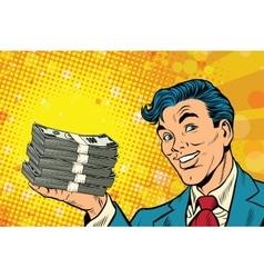 Financial success businessman with money vector