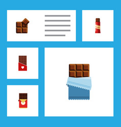 Flat icon chocolate set of cocoa sweet bitter vector