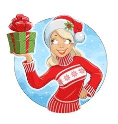 Girl in Santa Claus costume vector image