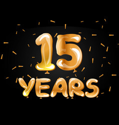 golden color number 15 years greeting card vector image