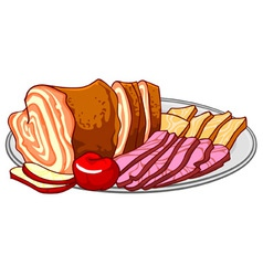 ham cold cuts on a platter vector image vector image