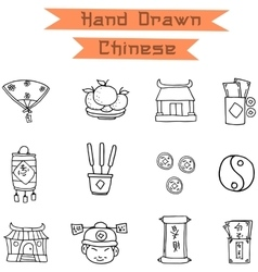 Hand draw chinese icons vector