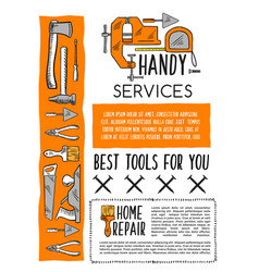 House repair tool and carpentry equipment poster vector