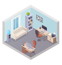 Isometric office interior with two workplaces vector