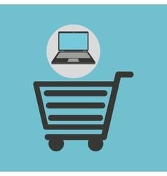 Notebook computer shopping cart market vector