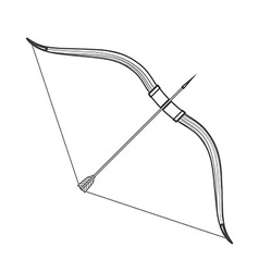 Outline medieval bow arrow icon vector