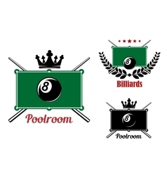 Pool snooker and billiards emblems vector
