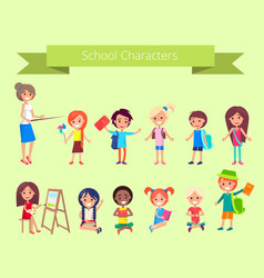 school characters collection of pupils vector image