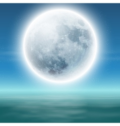 Sea with full moon at night vector
