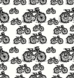 seamless pattern of sketch bicycle vector image