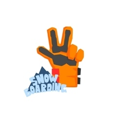 Snowboarding Glove With Logo vector image vector image