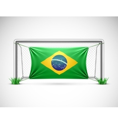 Soccer goal with flag brazil vector image vector image