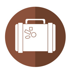 suitcase travel with stickers shadow vector image