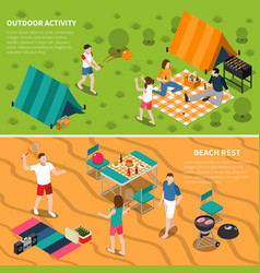 summer outdoor activity people banner set vector image vector image