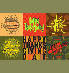 Thanksgiving decoration lettering postcard vector