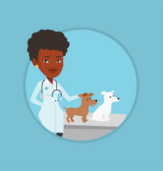 Veterinarian examining dogs vector