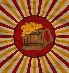 Vintage poster wooden mug beer vector image vector image