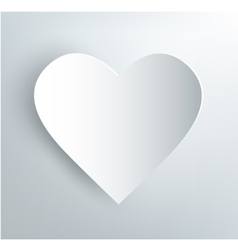 white paper heart with shadow vector image vector image