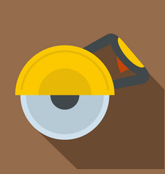 Yellow cut off machine icon flat style vector