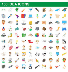 100 idea icons set cartoon style vector image vector image